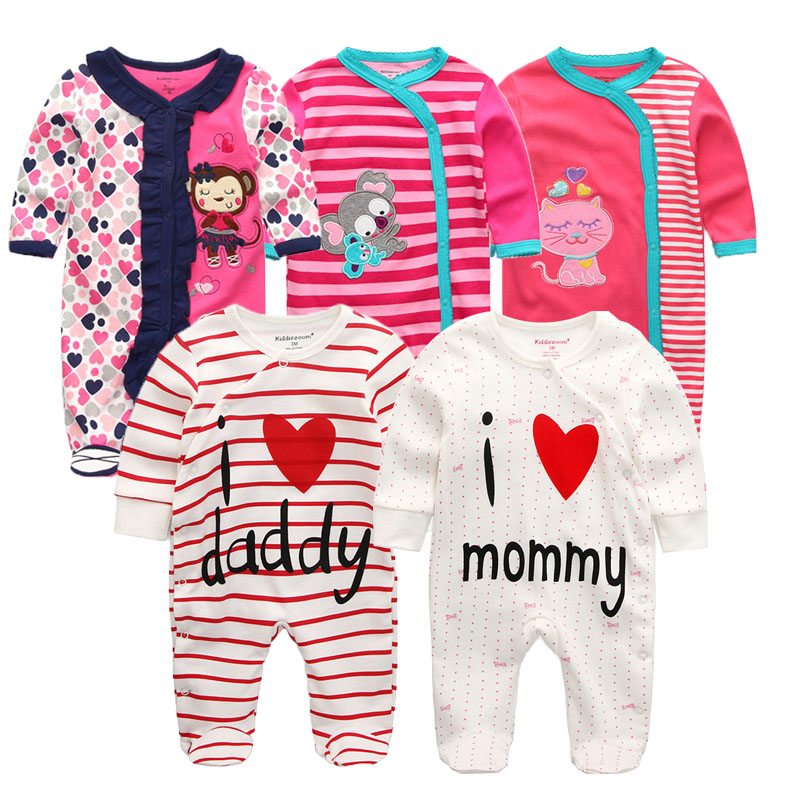 newborn baby Sleepwear full Sleeve 100%Cotton baby jumpsuit O Neck 0 12M baby girl pajamas roupa bebe baby clothes-in Robes from Mother & Kids    1