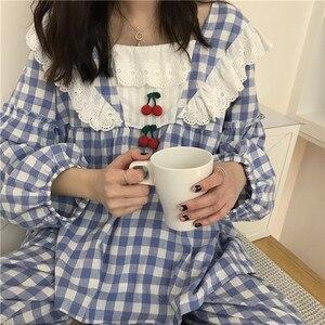Image 2 - Pijamas de cuadros escoceses para mujer, ropa de dormir de algodón de princesa dulce, Sexy de encaje de manga larga, conjunto de 2 unidades para casa
