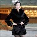 European New Style Winter Fashion Women Fur Coat Elegant Slim Leisure Coat Big yards Thickening Medium long Warm Fur Coat