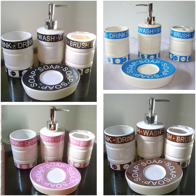 JIENI NEW Bathroom Accessories Set European Bathroom Sanitary Ware Ceramic Personalize Wedding Gift Painted Home Garden 5pcs Set