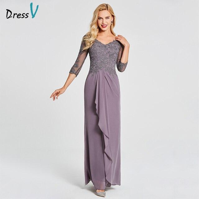 Dressv V Neck Sheath Floor Length Mother Of The Bride Dress Three Quarter Sleeves Beading Crystal Gown Mother of The Bride Dress