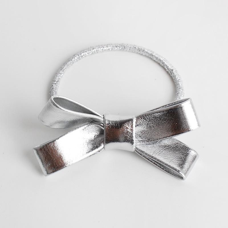 #61113 European Popular PU Bow Hair Tie Hairpins Series Golden/Sliver Hair Bows Rubber Bands Gum High Elastique Cheveux Hair Gum