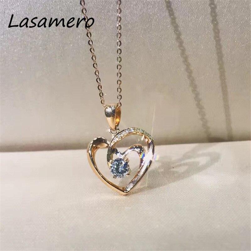 LASAMERO Romantic 0.24CT  18k Rose Gold  Round Cut Love Heart Design Pave Set Natural Diamond Pendant Necklace