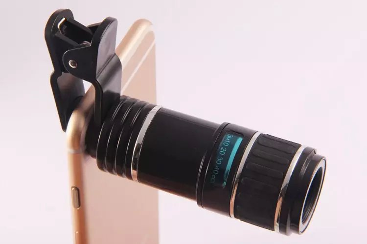 bilder für Neue Ankunft Universal 12X Optischer Zoom Clip Zoom-handy-teleskop-objektiv Kamera teleobjektiv für iphone 5 5 s 6 6 s 6 p 7 7 p heißer