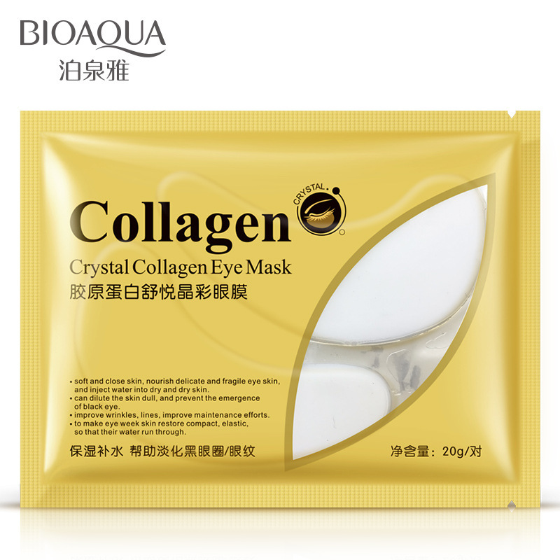 10pcs=5bag=5pair Hot sale BIOAQUA Crystal Collagen Eye Mask Sticker anti-aging anti-puffiness dark circles moisturizing eye care