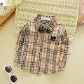Осень 2016 новых Детей рубашки хлопок детская одежда для мужской Тонг Gezi рубашка младенца галстук частей блузка 3 цвета пальто