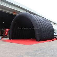 Hot sale cheap waterproof black inflatable tunnel tent small stage cover/stage for