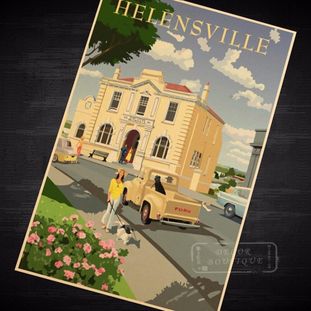 Helensville Vintage Pop Art New Zealand NZ Vintage Retro Canvas ...