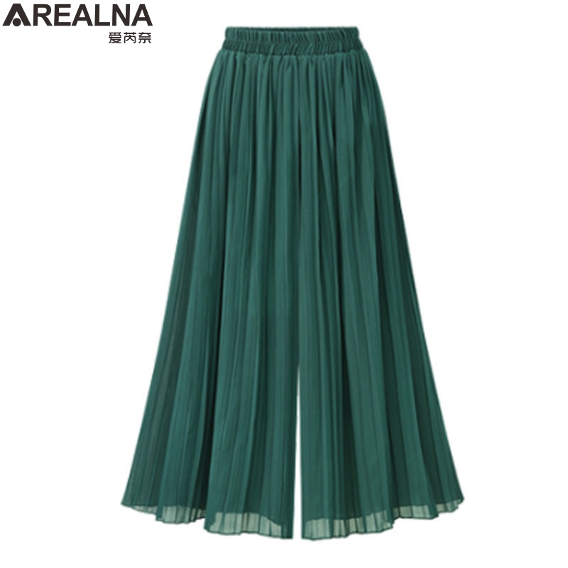 Summer high waist   pants   women 2018 Pleated   Wide     Leg     Pants   Loose Chiffon Elastic Waist black green trousers women Plus Size 4XL