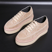 Moxxy 2018 New Autumn Women Platform Flats Shoes Suede Leather Ladies Casual Loafers Slip On Increasing