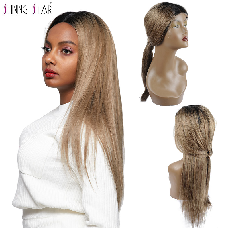 Shiningstar Long Ombre 1B 126 Green 4*4 Lace Frontal Human Hair Wigs Peruvian Straight Middle Part Closure Wig Nonremy Nontangle