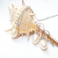 Lii Ji Real Freshwater Pearl Jewelry 925 Sterling Silver Pendant Earring Jewelry Set Trendy Nice Gift For Mother Girl friend