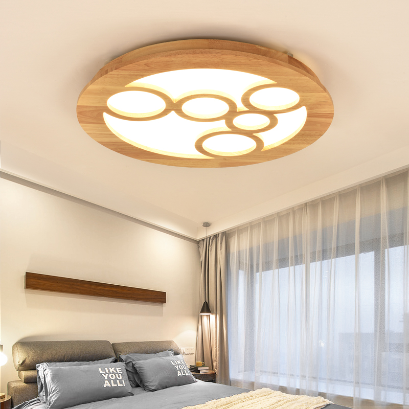 Japan Style Wood Carved Flower Light Fixtures Round