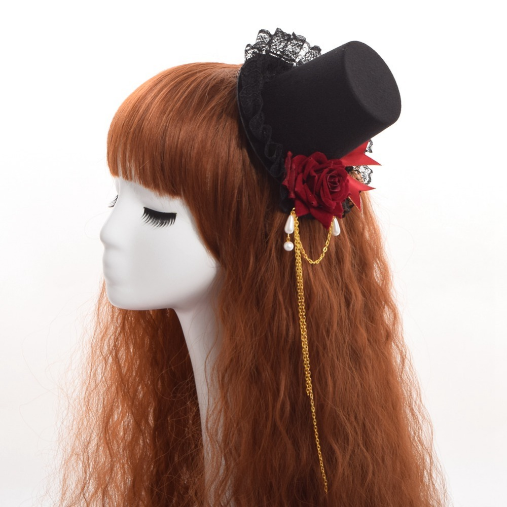 Gothic Lolita Girls Vintage Rose Bowknot Lace Small Top Hat Hair Clip Handmade
