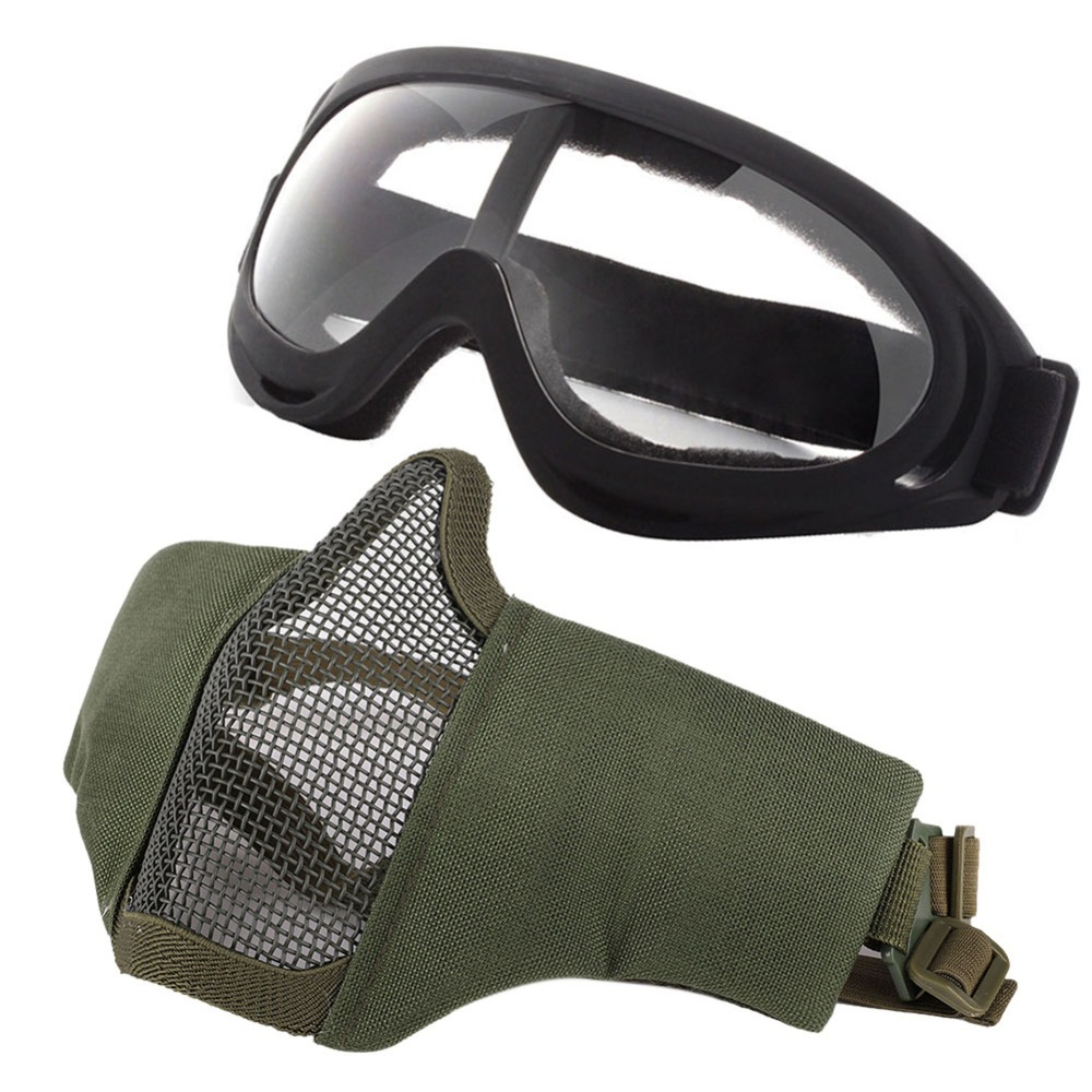 New Mask and wind mirror Airsoft Masks- Adjustable Half Metal Steel Steel wire Mesh Face Mask And UV400 Goggles Set For Tactical