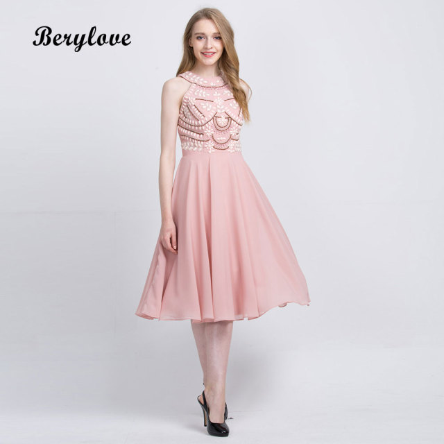 Berylove Knee Length Blush Pink Homecoming Dresses 2018 Short Beaded