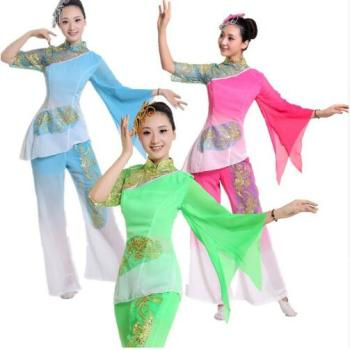 (0151) Modern dance yangko dance fan dance costumes dress costume stage clothing drum wear Chinese classical dance