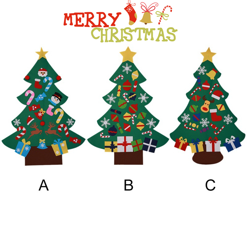 Power Felt Christmas Tree with Lovely Ornaments Door Wall Hanging Decoration New Year Christmas Children Christmas
