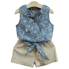 купить Girls Clothes Sets 2019 Summer Baby Girl Cute Vest T-shirt And Shorts Suits Fashion Kids Bow Princess Clothing Sets 2-6 Years дешево