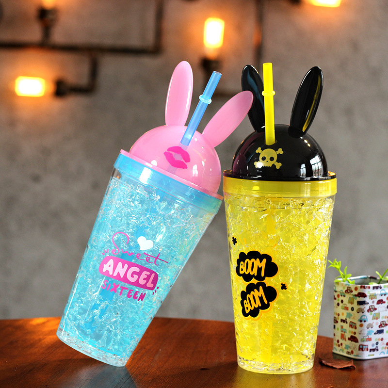 Lovely Cartoon Rabbit Ears Shape Funny Red Lips Skull Plastic Cold Drinks Cool Summer Drinking Bottle With Straw Lid