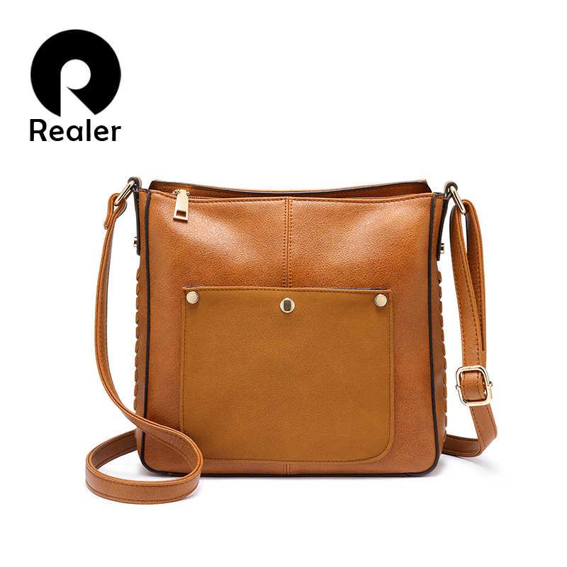 fe71b61c0bb3 REALER shoulder bag women messenger fashion crossbody bags small purses and  handbags designer ladies PU leather