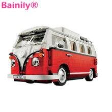 [Bainily] Volkswagen Camping-Car Modèle Ville Blocs de Construction Pas de Lumière Led Compatible LegoeINGly Technique de Voiture Pour Enfants cadeau Jouets