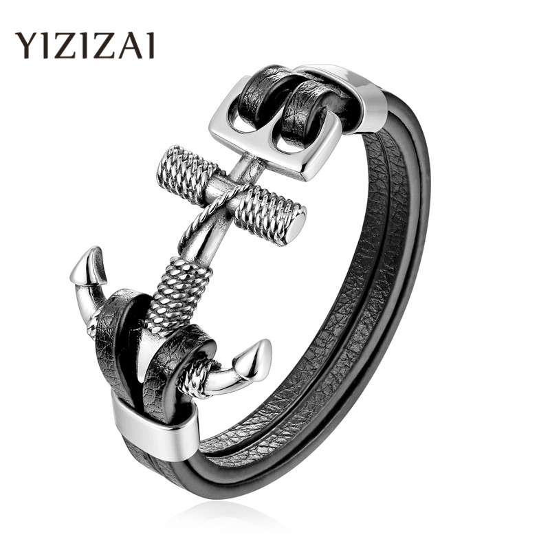 YIZIZAI Genuine Leather Anchor Bracelet Men Lion Double Wolf Shackles Stainless Steel Charm Bracelets Wristband Fashion Jewelry(China)