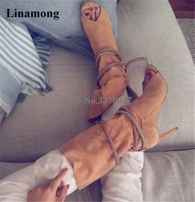 Brand Design Women Fashion Peep Toe Suede Leather Thin Heel Mid-calf Gladiator Boots Cut-out Lace-up High Heel Boots