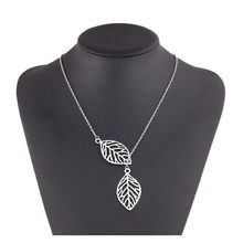 2pcs 1 Silver Gold Leaves Necklace And Earings Fashion Women Jewelry Forest Style Double