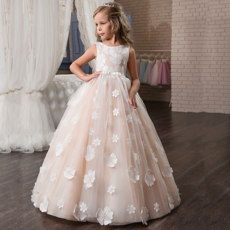 Facny Floral Flower Girl Dresses Holy Communion Pink Sleeveless V Zipper Back Floor Length Appliques Christmas Tulle Ball Gowns все цены