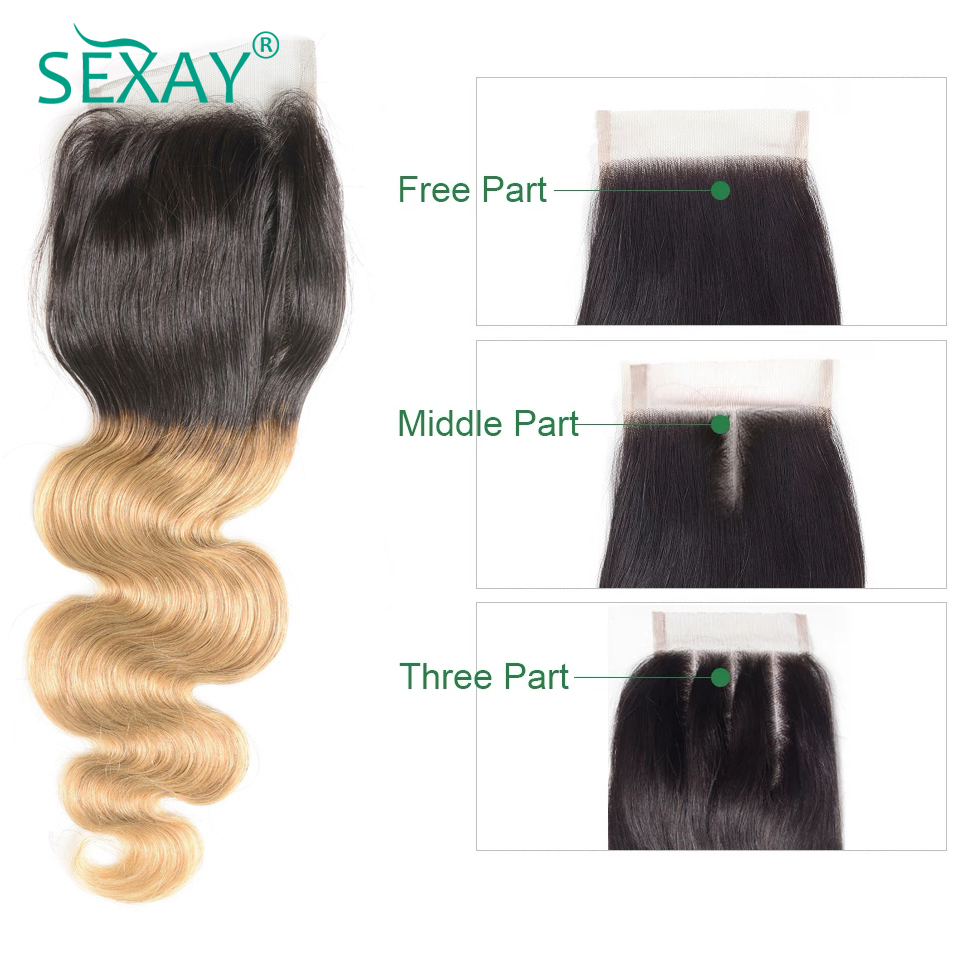 Sexay Brazilian Body Wave Lace Closure 4*4 1 Piece  Ombre T1B/27 Blonde Two Tone Soft Swiss Lace Closure With Baby Hair Non Remy