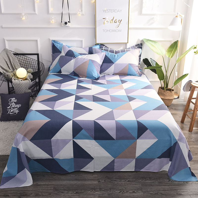 Colorful twin flat sheets king size pretty geometric plaid bed sheets queen size bed lines multicolor grids bedsheet #/L