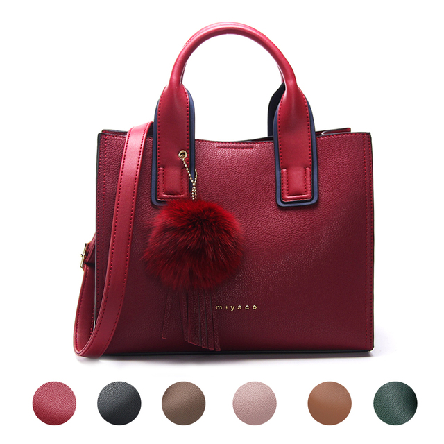MIYACO Handbag for Women Leather Tote Bags Designer Handbags Elegant Crossbody Bags Ladies Hand Bags with Tassel&Furry ball 5