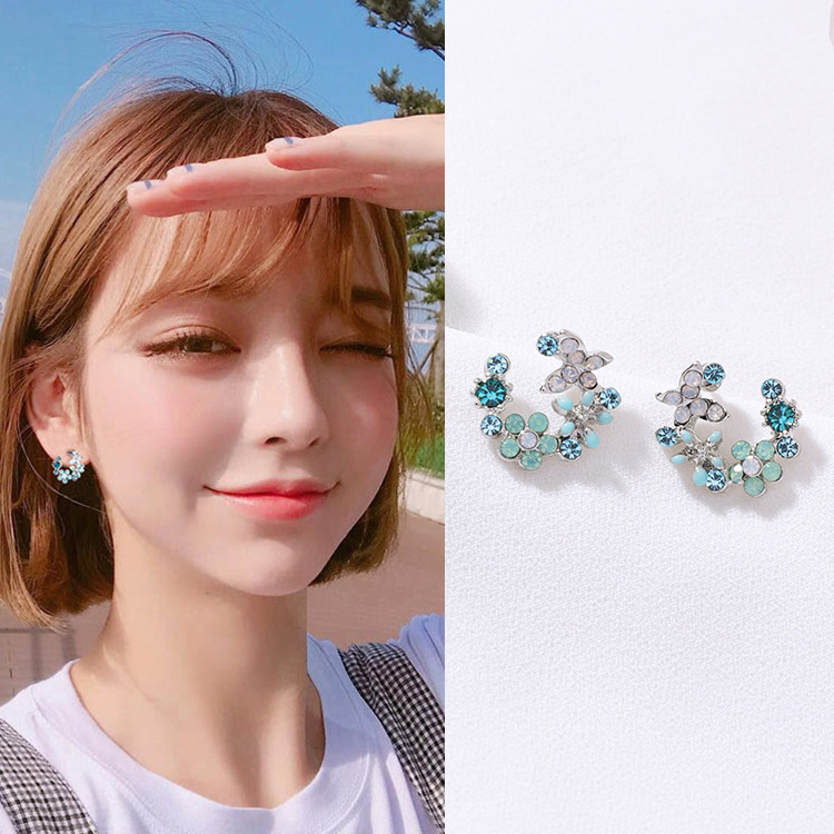 New Design Hot Sale Fashion Jewelry Simple Garland Shell Drop Oil Crystal Cute Earrings earrings for women