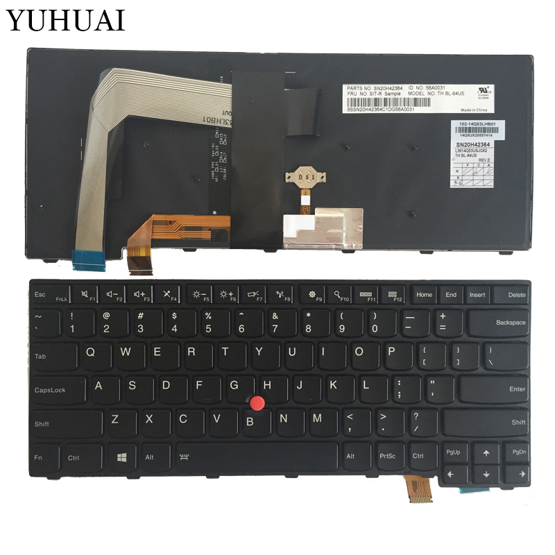 NEW US Laptop Keyboard For for Lenovo Thinkpad T460S US United States SN20H42364 Backlit new for sony vgn fj series laptop us keyboard 147951221 black