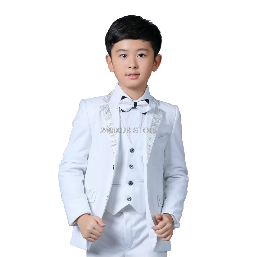 Flower Boys White Wedding Blazer Suit School Kids Piano Prom Ceremony Formal Suit Boys Birthday Party