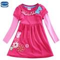 Fúcsia novatx H5632 varejo bebê menina roupas de mangas compridas crianças crianças menina para belo vestido de festa casual frete grátis