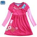 Novatx H5632 fucsia al por menor ropa de bebé niña de manga larga niños muchacha de los cabritos para el vestido de fiesta hermosa envío libre ocasional