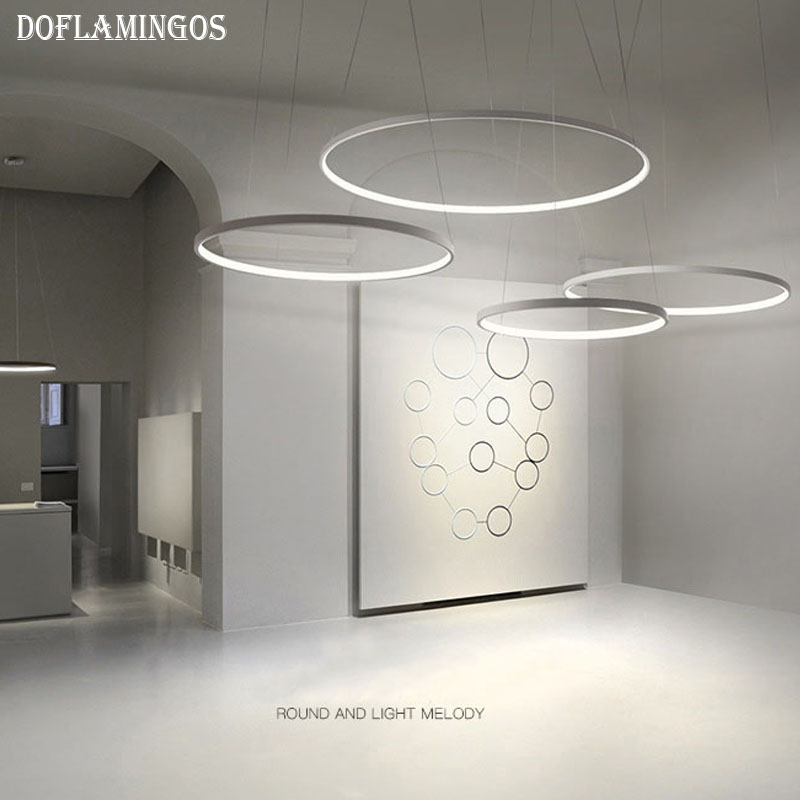 Fashional super thin 1.7CM Modern chandeliers circle rings led chandelier light for indoor lighting AC 220V 40CM 50CM 60CM 80CM fashional modern black