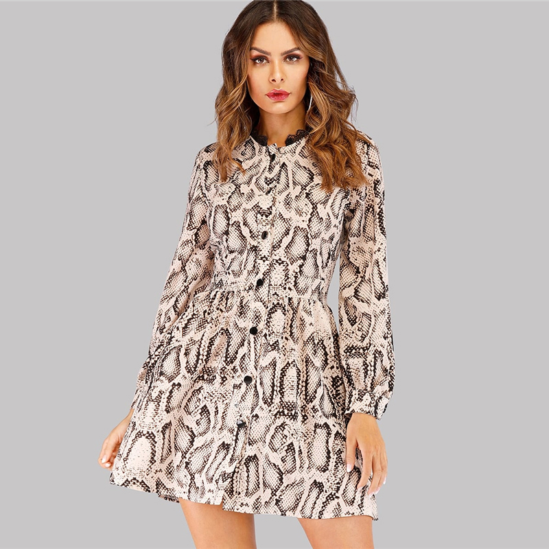 pretty cool find lowest price special discount of 2019 Wholesale Snake Print Single Breasted Shirt Dress Women Flared Long  Sleeve Ladies Dresses 2019 Autumn Womens Casual Mini From Qyzs001, $27.41 |  ...