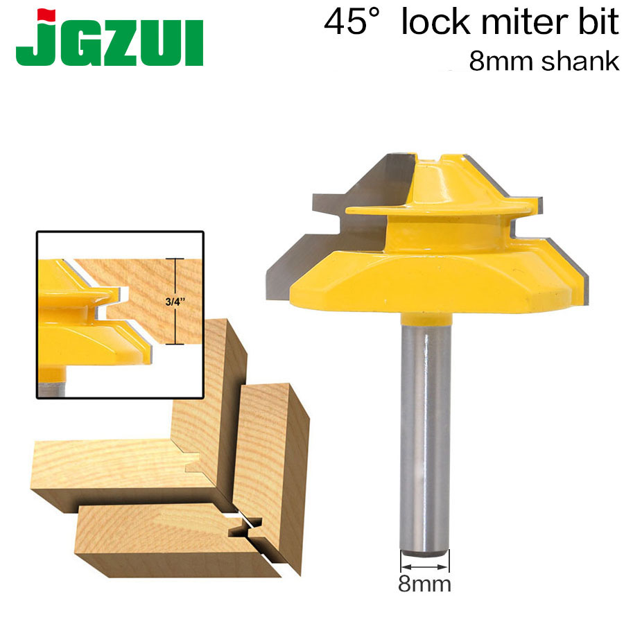 1PC 8mm Shank Medium Lock Miter Router Bit - 45 Degree - 3/4