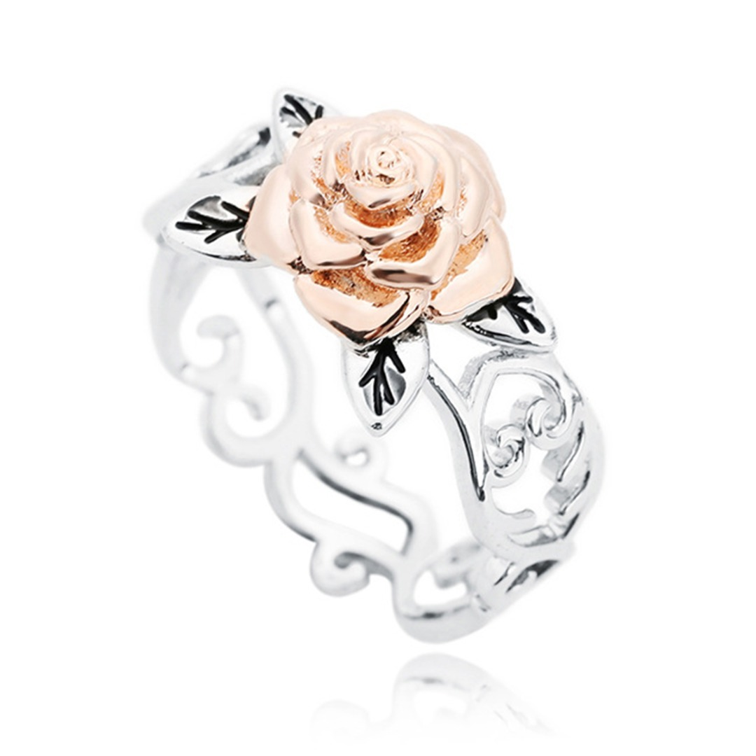 Rose Flower Hollow Wedding Band Ring For Bridal Jewelry Shellhard Elegant Statement Heart Silver Simple Finger Ring Bague Femme
