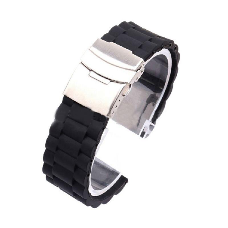 * Cool 16mm/18mm/20mm/22mm/24mm Automatische Dubbele Klik Vlinder Gesp Horloge Automatische Drukknop Vouw Deployment Sluiting Strap * Koop Altijd Goed