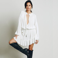 2016 Hot Sale Summer Dress Bohemian Style Irregular Dress Hollow Out Loose Casual Fashion Dress Ruffles