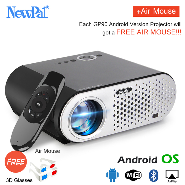 Special Offers Newpal GP90 UP Mini Projector 3200Lumens Android WiFi Video Projecteur 1.2-5M Throwing Support Full HD 1080P HDMI/USB/AV/VGA