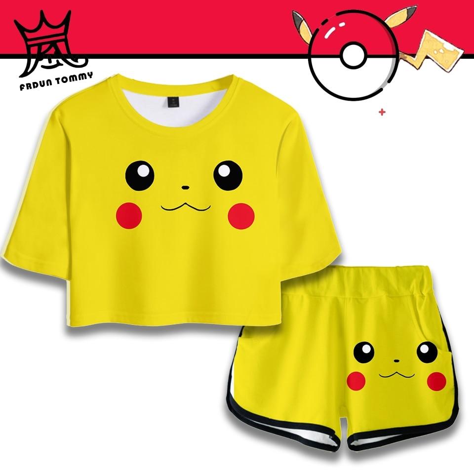 Pokemon Detective Pikachu Women T-shirt Short Set 3D Printed Anime Japan Tshirt Set New Hot Sale Sweatshirt Summer Clothe Plus