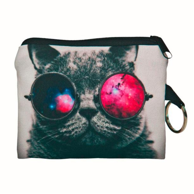 Girl printing coins change purse 3D Cats Dogs Animal Big Face Change Fashion Cute SmallClutch zipper zero wallet phone key bag *
