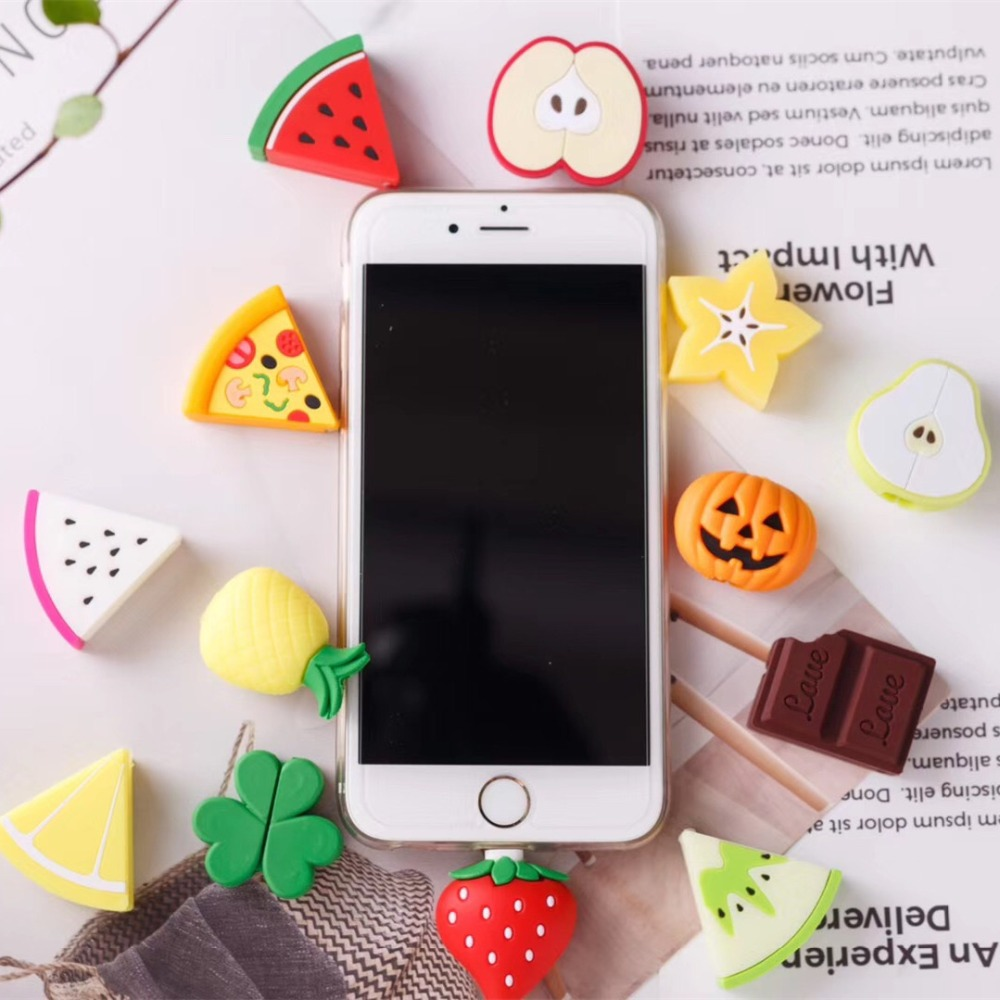 Fruit Data Cable Bite Protector Pear Lemom for iphone 6 case Phone Cute Charging Data Earphone Line Wire Protector for iPhones
