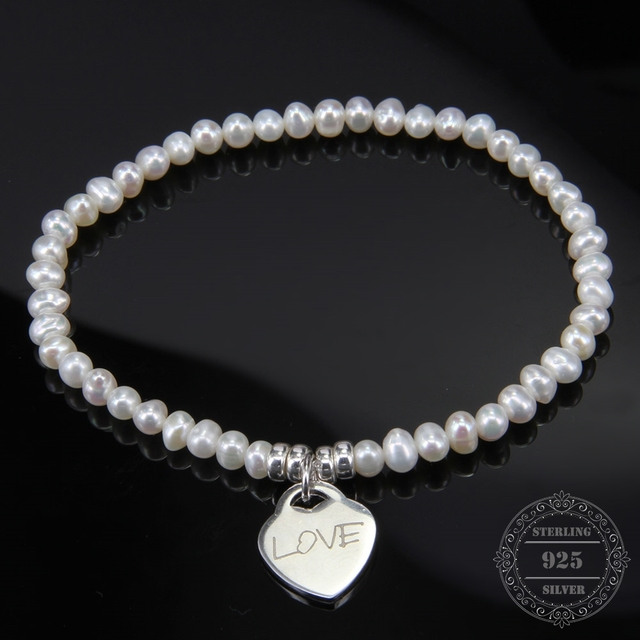 HEMISTON 925 Freshwater Pearl Bracelet with 925 Sterling Silver Love Heart Charm for Women Fine Jewelry Friend Gift TS-B093