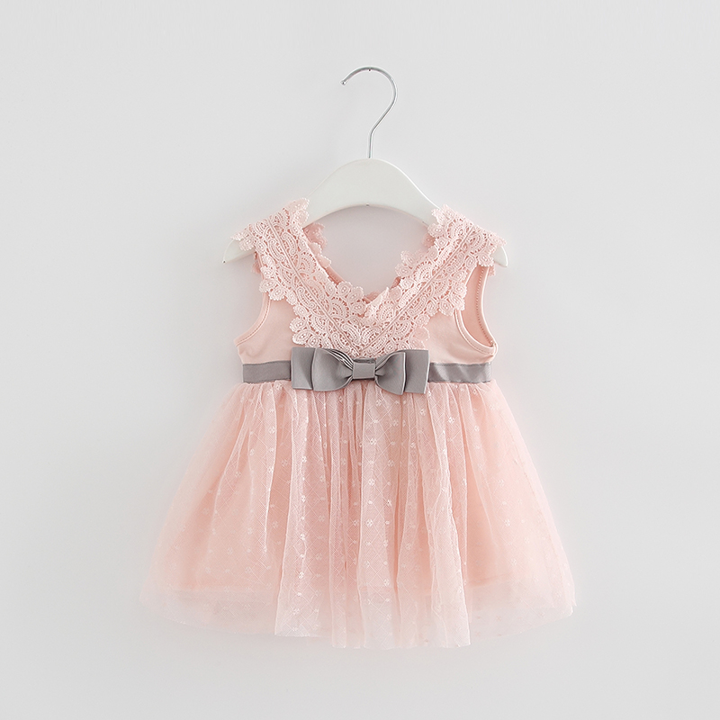 Summer Baby Girl Dress Infant Cute Cotton Lace Bow Princess Dress for Party and Wedding Baby Baptism Dress 1 Year Birthday Dress